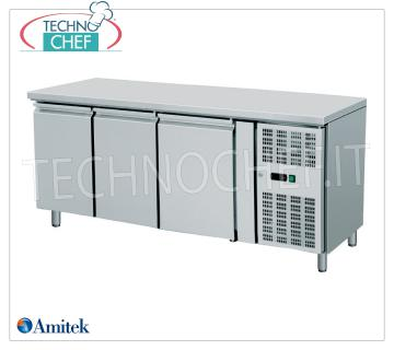 Amitek - 3 Doors Freezer Table, lt. 417, Temp.-18 ° / -22 ° C, Ventilated, Class D, mod.AK3100BT 3 Doors Refrigerated Table-Counter, Professional, capacity 417 liters, temperature -18 ° / -22 ° C, Gastro-Norm 1/1, ventilated refrigeration, ECOLOGICAL in Class D, Gas R290 ,, V.230 / 1, Kw. 0,56, Weight 152 Kg, dim.mm.1795x700x860h