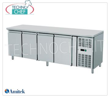 Amitek - 4 Doors Freezer Table, lt. 553, Temp. -18 ° / -22 ° C, Ventilated, Class D, mod.AK4100BT 4 Doors Refrigerated Table-Counter, Professional, capacity 553 liters, temperature -18 ° / -22 ° C, Gastro-Norm 1/1, ventilated refrigeration, ECO-FRIENDLY in Class D, Gas R290, V.230 / 1, Kw.0 , 65, Weight 173 Kg, dim.mm.2230x700x860h