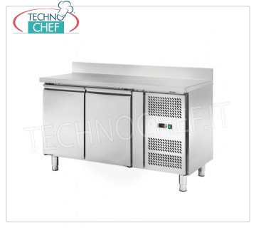 Frigor table 2 doors with upstand, Temp. -2 ° / + 8 ° C, lt. 228, Ventilated, Class C, mod.AKS2200TN 2 DOOR Refrigetato Counter Table with upstand, Professional, SNACK Line, Temp. -2 ° / + 8 ° C, capacity 228 liters, ventilated refrigeration, ECOLOGICAL in Class C, Gas R290, V.230 / 1, Kw.0,22 , Weight 91 Kg, dim.mm.1360x600x960h