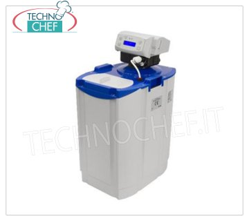 Technochef - AUTOMATIC WATER SOFTENER Cabinet of lt.12 - VOLUMETRICO series AL Automatic water softener-water purifier of lt.12, with 9 lt of RESIN, AL series, ALIA volumetric valve, max flow rate 1400 lt / h, 3 / 4'G water connection, LCD display and salt lack warning, V .230 / 1, Watt 4, Weight 15 Kg, dim.mm.285x405x595h