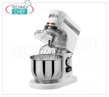 Technochef - PROFESSIONAL PLANETARY MIXER lt.4,9, Mod.AP5 Planetary mixer with 4.9 l stainless steel bowl, complete with stainless steel hook, spatula and whisk, V.230 / 1, Kw.0,3, Weight 13 Kg, dim.mm.350x230x400h