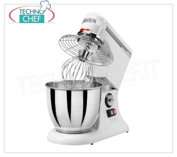 Technochef - PROFESSIONAL PLANETARY MIXER lt. 7, Mod.AP7 Planetary mixer with stainless steel bowl lt. 7, complete with hook, spatula and stainless steel whisk, V.230 / 1, Kw.0.325, Weight 15 Kg, dim.mm.420x250x420h