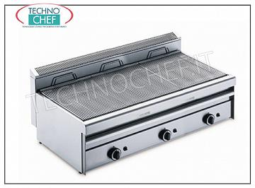 GRILL VAPOR GAS TOP version, 3 Modules - ARRIS - 700 Series GRILL VAPOR GAS TOP version, in AISI 430 stainless steel, 3 MODULES with independent controls with 3 COOKING ZONES from 390x550 mm, complete with grating with rods, thermal power 25.5 kw, external dimensions 1195x700x315h mm