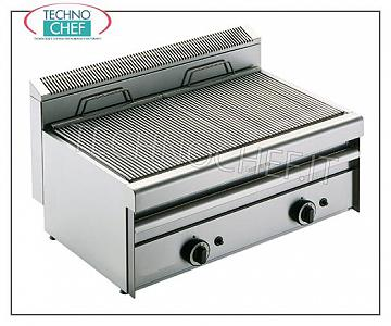 GRILL VAPOR TOP version, DOUBLE MODULE - ARRIS - Series 550 GRILL VAPOR GAS TOP version, DOUBLE MODULE with independent controls with 2 390x410 mm COOKING ZONES, complete with rod grating, 13.8 kW heat output, Weight 50 Kg, external dimensions 800x550x315h mm