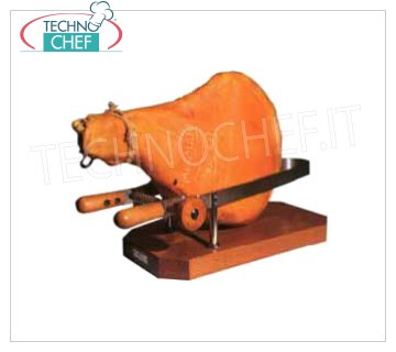 Forcar - MOLD for PROSCIUTTO in STAINLESS STEEL, Mod.AV4510 Ham stainless steel vice with support and handles in fine wood, dim.mm.580x250x190h