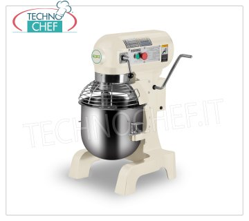 FIMAR - PROFESSIONAL PLANETARY COUNTER MIXER 10 l, SINGLE-PHASE, 3 SPEED, Mod.B10K Planetary mixer 10 lt., EASYLINE line, with stainless steel bowl, whisk and grilled lid, aluminum spiral and spatula, 3 speeds, V.230 / 1, Kw. 0,45, Weight 56 Kg, dim. mm.452x432x606h