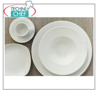 CHURCHiLL - Porcelain for Restaurant DISHES, White Relief Bamboo Collection, Brand CHURCHiLL