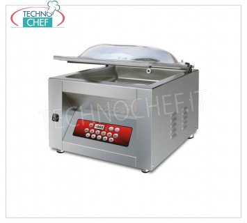 EUROMATIC - Technochef, Professional Bell Vacuum Machine, Bar 40 cm, Mod.BASIC DISPLAY VACUUM PACKAGING MACHINE with BENCH, CAMERA mm.410x450x220h, SOLDERING BAR 400 mm, VACUUM PUMP 20/24 meters / cubic / hour, V.230 / 1, Kw. 0.90, Weight 60 Kg, dim.mm.510x560x450h