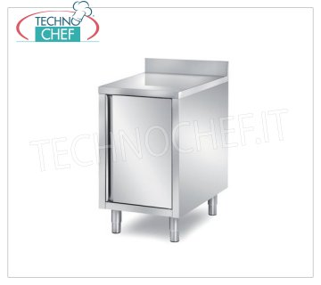 Technochef - STAINLESS STEEL CABINET TABLE with SWING DOOR and BACK Cupboard with hinged door and upstand, dim.mm.400x700x850h