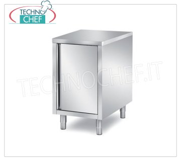 Technochef - STAINLESS STEEL CABINET TABLE with HINGED DOOR Cupboard with hinged door, dim.mm.400x700x850h