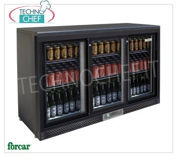 FRIGO display case for DRINKS, 3 Doors, Ventilated, Temp. + 2 ° / + 8 ° C, lt. 335, Mod.G-BC3PS Professional beverage-refrigerator, 3 glass doors, Ventilated, temperature + 2 ° / + 8 ° C, capacity lt. 335, V.230 / 1, Kw.0.138, Weight 91 Kg, dim.mm.1350x535x920h