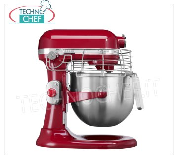 KITCHENAID - Technochef, Professional Planetary mixer lt 6,9, Food processor, Red, Mod.IKSM7990R KITCHENAID planetary mixer, PROFESSIONAL line, RED color, with 6.9 liter stainless steel bowl, V.230 / 1, Kw.0.325, Weight 13 Kg, dim.mm.338x371x417h