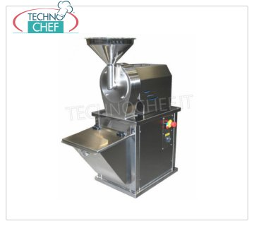 Grind sugar Sugar grinder in stainless steel Kg. 30 / ORA, complete with product collector, 1 speed motor, V 380/3, Kw 0.75, Weight 40 Kg., Dim. mm. 420x810x940 h