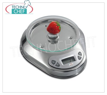 Digital electronic table scale, max weight 5 Kg Digital electronic table scale, max weight 5 Kg, division 1 gr, low glass plate from diameter mm. 150, with tare and net weight, dim. external mm. 230x190x50h
