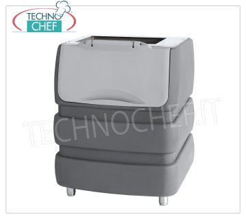 Containers / Storage for ice machines Ice storage in highly insulated polyethylene, capacity 240 Kg, usable with: granular producers Mod.G 160/280/510, cubed producers: Mod. C 150 and VM 350/500/900, Weight Kg. 61, dimensions 942x795x1053h mm.