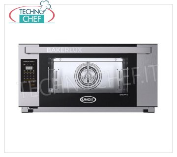Unox - ELENA 3-Tray Electric Convection Oven with Humidification, XEFT-03EU-ELDV model ELECTRIC CONVECTION OVEN with humidification UNOX - BAKERLUX, for BAKERY and PASTRY, capacity 3 TRAYS 600x400 mm, Digital controls, V.230 / 1, Kw.3.5, Weight 46 Kg, dim.mm.800x811x425h