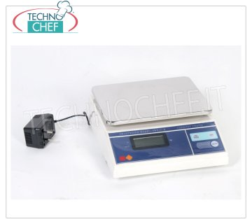 Technochef - DIGITAL ELECTRONIC SCALE 15 KG, Mod.BLE15 Electronic digital table scale, max capacity 15 Kg, division 5 gr, stainless steel plate mm. 235x177, with tare and net weight, dim.mm.250x290x105h