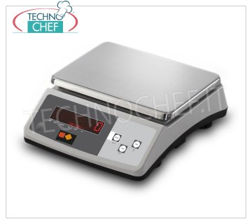Technochef - DIGITAL ELECTRONIC SCALE 30 KG, Mod.BLE30 Electronic digital table scale, max capacity 30 Kg, division 1 gr, stainless steel plate mm.255x185, dim.mm.255x300x110h