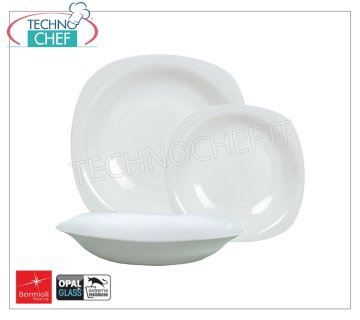 BORMIOLI ROCCO - PARMA WHITE GLASS Collection - Restaurant Dishes FLAT PLATE, Parma collection in white opal tempered glass, cm.27x27, Brand BORMIOLI ROCCO - Available in 24 pieces pack