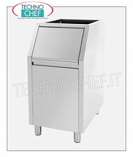 Containers / deposits for ice machines Highly insulated ice deposit, stainless steel exterior, 100 Kg capacity, usable with: small cubes manufacturers Mod.W350 / 500/900 and granular producers Mod.G160 / 280/510, Weight Kg.53, dimensions mm.560x815x1000h.