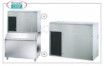 Ice cube makers / full ice machines without storage Ice cube maker spray system, yield 300 Kg / 24 hours, without deposit, stainless steel exterior, air cooling, V 230/1, Kw 2.60, dimensions 1250x580x848h mm.