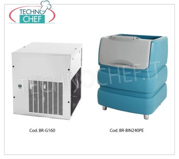 Manufacturers / granular ice machines without deposit, yield 160 Kg / 24 hours Granular ice maker, to be combined with ice storage container, yield 160 Kg / 24 hours, stainless steel exterior, air cooling, V 230/1, Kw 0.65, Weight 63 Kg, dimensions 560x569x600h