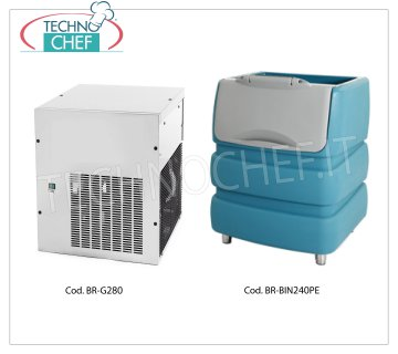 Manufacturers / granular ice machines without deposit, yield 280 Kg / 24 hours Granular ice maker, to be combined with ice storage container, yield 280 Kg / 24 hours, stainless steel exterior, air cooling, V 230/1, Kw 1.05, Weight 83 Kg, dimensions mm.560x569x695h