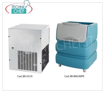 Granular ice maker machine without deposit, yield 510 Kg / 24 hours Granular ice maker, to combine with ice storage container, yield 510 Kg / 24 hours, stainless steel exterior, air cooling, V 230/1, Kw 1,7, Weight 102 Kg, dimensions mm.560x569x695.
