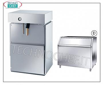 Manufacturers / ice machines in scales without deposit Flake ice maker, without storage, stainless steel, water cooling, V 230/1, Kw 2,2, delivered 400 Kg / 24 hours. Dimensions mm 495x588x705 h, weight Kg 66.