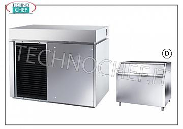 Manufacturers / ice machines in scales without deposit Flake ice maker, without storage, stainless steel, air / water cooling, V 400/3, Kw 4,6, delivered 900 Kg / 24 hours, dimensions 1107x700x880h, weight Kg 241.