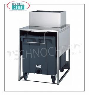 Containers / Deposits for ice machines Stainless steel tank for ice storage on carton box Kg.108 and over 17 kg reserve for granular producers. Mod. G160-G280-G510, dimensions mm 795x1060x1284h.