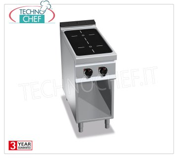 TECHNOCHEF - ELECTRIC 2-INDUCTION KITCHEN AREA on DAY COMPARTMENT, mod. E9P2M / IND 2-ZONE INDUCTION ELECTRIC RANGE on DAY ROOM, BERTOS MAXIMA 900 Line, POWER INDUCTION Series, with 2 SQUARE ZONES 270x270 mm, INDEPENDENT CONTROLS, 9 power levels, V.400 / 3 + N, Kw 10.00, Weight 55 Kg, dim.mm.400x900x900h