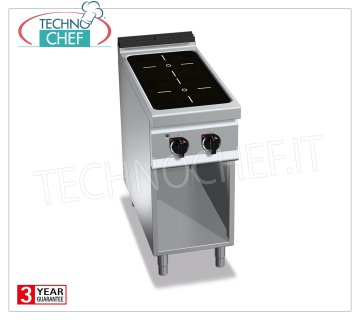 TECHNOCHEF - ELECTRIC COOKING 2 INFRARED AREAS on VANO a GIORNO, mod. E9P2MP / VTR ELECTRIC RANGE 2 INFRARED AREAS on DAY COMPARTMENT, BERTOS MAXIMA 900 Line, INFRARED Series, with 2 SQUARE ZONES 270x270 mm, INDEPENDENT CONTROLS, V.400 / 3 + N, Kw. 8.00, Weight 40 Kg, dim.mm.400x900x900h