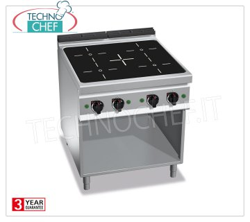 TECHNOCHEF - 4-ZONE INDUCTION ELECTRIC COOKER on SPACE DAY, mod. E9P4M / IND 4-ZONE INDUCTION ELECTRIC RANGE on DAY ROOM, BERTOS MAXIMA 900 Line, POWER INDUCTION Series, with 4 SQUARE ZONES 270x270 mm, INDEPENDENT CONTROLS, 9 power levels, V.400 / 3 + N, Kw.20.00 Weight 85 Kg, dim.mm.800x900x900h