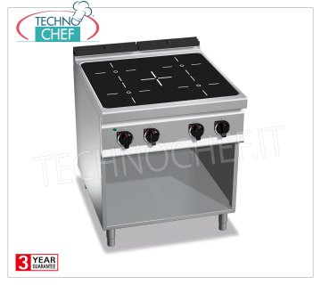 TECHNOCHEF - ELECTRIC COOKING 4 INFRARED AREAS on VANO a GIORNO, mod. E9P4MP / VTR ELECTRIC RANGE 4 INFRARED AREAS on DAY COMPARTMENT, BERTOS MAXIMA 900 Line, INFRARED Series, with 4 SQUARE ZONES 270x270 mm, INDEPENDENT CONTROLS, V.400 / 3 + N, Kw. 16.00, Weight 68 Kg, dim.mm.800x900x900h