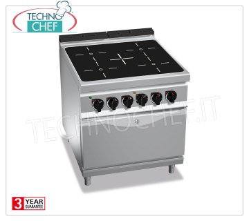 TECHNOCHEF - 4-ZONE ELECTRIC RANGE on GN 2/1 OVEN, mod. E9P4P / VTR + FE ELECTRIC RANGE 4 INFRARED AREAS on GN 2/1 ELECTRIC OVEN, BERTOS MAXIMA 900 Line, INFRARED Series, with 4 SQUARE ZONES 270x270 mm, INDEPENDENT CONTROLS, V.400 / 3 + N, Tot. Kw.23.5, Weight 118 Kg, dim.mm.800x900x900h