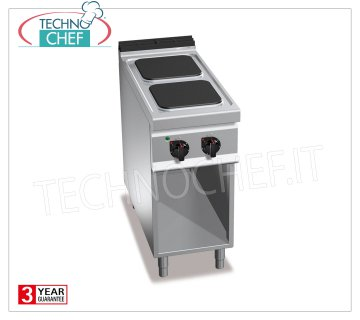 TECHNOCHEF - ELECTRIC 2-PLATE KITCHEN over COMPARTMENT ROOM, mod. E9PQ2M ELECTRIC RANGE 2 PLATES on DAY COMPARTMENT, BERTOS Line MAXIMA 900, HIGH POWER Series, with 2 300x300 mm QUADRE plates, INDEPENDENT CONTROLS, 6 power levels, V.400 / 3 + N, Kw 7.00, Weight 56 Kg , dim.mm.400x900x900h