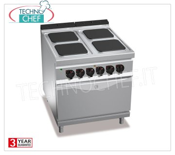 TECHNOCHEF - 4 PLATE ELECTRIC RANGE on GN 2/1 ELECTRIC OVEN, mod. E9PQ4 + FE 4 PLATE ELECTRIC RANGE on GN 2/1 ELECTRIC OVEN, BERTOS MAXIMA 900 Line, HIGH POWER Series, with 4 QUADRE 300x300 mm plates, INDEPENDENT CONTROLS, 6 power levels, V.400 / 3 + N, Tot. Kw 21, 5, Weight 138 Kg, dim.mm.800x900x900h