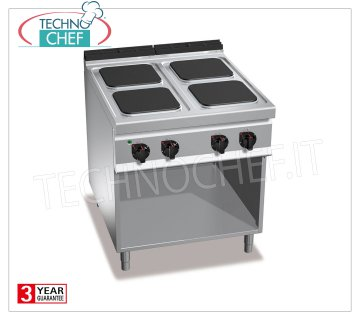 TECHNOCHEF - 4-PLATE ELECTRIC COOKER on DAY COMPARTMENT, mod. E9PQ4M ELECTRIC RANGE 4 PLATES on DAY COMPARTMENT, BERTOS Line MAXIMA 900, HIGH POWER Series, with 4 QUADRE plates 300x300 mm, INDEPENDENT CONTROLS, 6 power levels, V.400 / 3 + N, Kw 14.00, Weight 87 Kg , dim.mm.800x900x900h