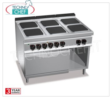 TECHNOCHEF - 6 PLATE ELECTRIC RANGE on GN 2/1 ELECTRIC OVEN, mod. E9PQ6 + FE 6-PLATE ELECTRIC RANGE on GN 2/1 ELECTRIC OVEN, BERTOS MAXIMA 900 Line, HIGH POWER Series, with 6 300x300 mm QUADRE plates, INDEPENDENT CONTROLS, 6 power levels, V.400 / 3 + N, Tot. Kw 28, 5, Weight 189 Kg, dim.mm.1200x900x900h