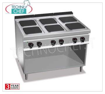 RECHNOCHEF - 6-PLATE ELECTRIC COOKER on DAY COMPARTMENT, mod. E9PQ6M 6 PLATE ELECTRIC RANGE on DAY COMPARTMENT, BERTOS MAXIMA 900 Line, HIGH POWER Series, with 6 300x300 mm SQUARE plates, INDEPENDENT CONTROLS, 6 power levels, V.400 / 3 + N, Kw 21.00, Weight 136 Kg , dim.mm.1200x900x900h