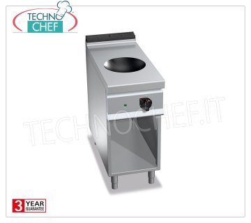 TECHNOCHEF - ELECTRIC RANGE 1 INDUCTION WOK PLATE on COMPARTMENT, mod. E9WOK / IND ELECTRIC RANGE with 1 INDUCTION WOK PLATE on DAY COMPARTMENT, BERTOS MAXIMA 900 Line, POWER INDUCTION Series, with COOKING AREA Ø 300 mm, 9 power levels, V.400 / 3 + N, Kw.5.00, Weight 45 Kg, dim.mm.400x900x900h