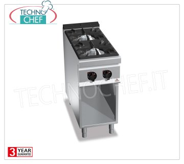 TECHNOCHEF - GAS RANGE 2 BURNERS on DAY COMPARTMENT, mod. G9F2M GAS RANGE 2 BURNERS on DAY COMPARTMENT, BERTOS MAXIMA 900 Line, HIGH POWER Series, heat output Kw.19, Weight 59 Kg, dim.mm.400x900x900h