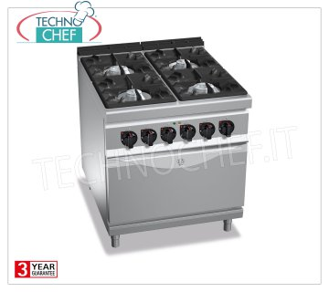 TECHNOCHEF - GAS RANGE 4 BURNERS on ELECTRIC OVEN GN 2/1, mod. G9F4 + FE 4 BURNERS GAS RANGE on GN 2/1 ELECTRIC OVEN, BERTOS MAXIMA 900 Line, HIGH POWER Series, heat output Kw 34.5 + Kw 7.5, Weight 158 Kg, dim.mm.800x900x900h