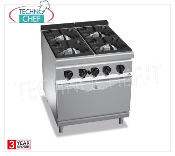 TECHNOCHEF - GAS RANGE 4 BURNERS on GAS OVEN GN 2/1, mod. G9F4 + FG 4-BURNER GAS RANGE on GN 2/1 GAS OVEN, BERTOS MAXIMA 900 Line, HIGH POWER Series, total thermal power Kw.42.3, Weight 149 Kg, dim.mm.800x900x900h