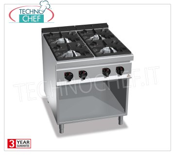 TECHNOCHEF - GAS RANGE 4 BURNERS on DAY COMPARTMENT, mod. G9F4M GAS RANGE 4 BURNS on DAY COMPARTMENT, BERTOS MAXIMA 900 Line, HIGH POWER Series, heat output Kw.34.5, Weight 104 Kg, dim.mm.800x900x900h
