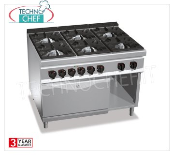 TECHNOCHEF - GAS RANGE 6 BURNERS on ELECTRIC OVEN GN 2/1, Kw.53.5 + 7.5, mod. G9F6 + FE GAS RANGE 6 BURNERS on ELECTRIC OVEN GN 2/1, BERTOS Line MAXIMA 900, HIGH POWER Series, heat output Kw 53.5 + Kw 7.5, Weight 210 Kg, dim.mm.1200x900x900h