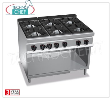 TECHNOCHEF - GAS RANGE 6 BURNERS on GAS OVEN GN 2/1, mod. G9F6 + FG GAS RANGE 6 BURNERS on GAS OVEN GN 2/1, MAXIMA 900 Line, HIGH POWER Series, total thermal power Kw.61,3, Weight 202 Kg, dim.mm.1200x900x900h