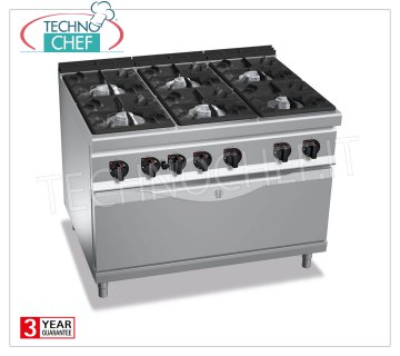 TECHNOCHEF - GAS RANGE 6 BURNERS on GAS OVEN, mod. G9F6 + T GAS RANGE 6 BURNERS on GAS OVEN, BERTOS MAXIMA 900 Line, HIGH POWER Series, total thermal power Kw.65.5, Weight 226 Kg, dim.mm.1200x900x900h