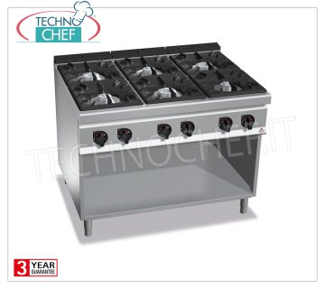 TECHNOCHEF - GAS RANGE 6 BURNERS on a COMPARTMENT ROOM, mod. G9F6M GAS RANGE 6 BURNS on DAY COMPARTMENT, BERTOS MAXIMA 900 Line, HIGH POWER Series, heat output Kw.53.5, Weight 140 Kg, dim.mm.1200x900x900h